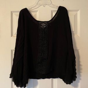 Maurices ladies small/med black lace/lace up top
